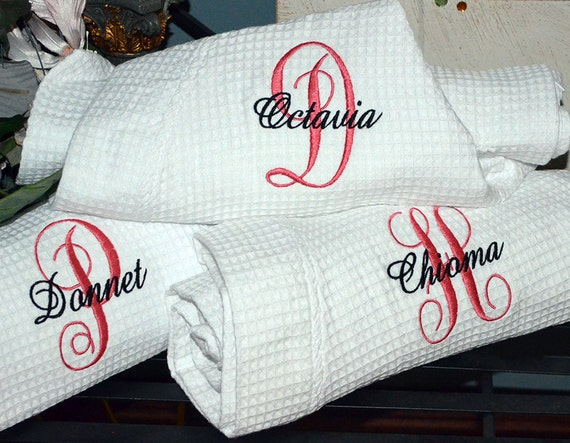 Personalised Wedding Gifts Quick Delivery : Set of 4 Monogram Robes - FAST SHIPPING - Personalized Robes, Wedding ...