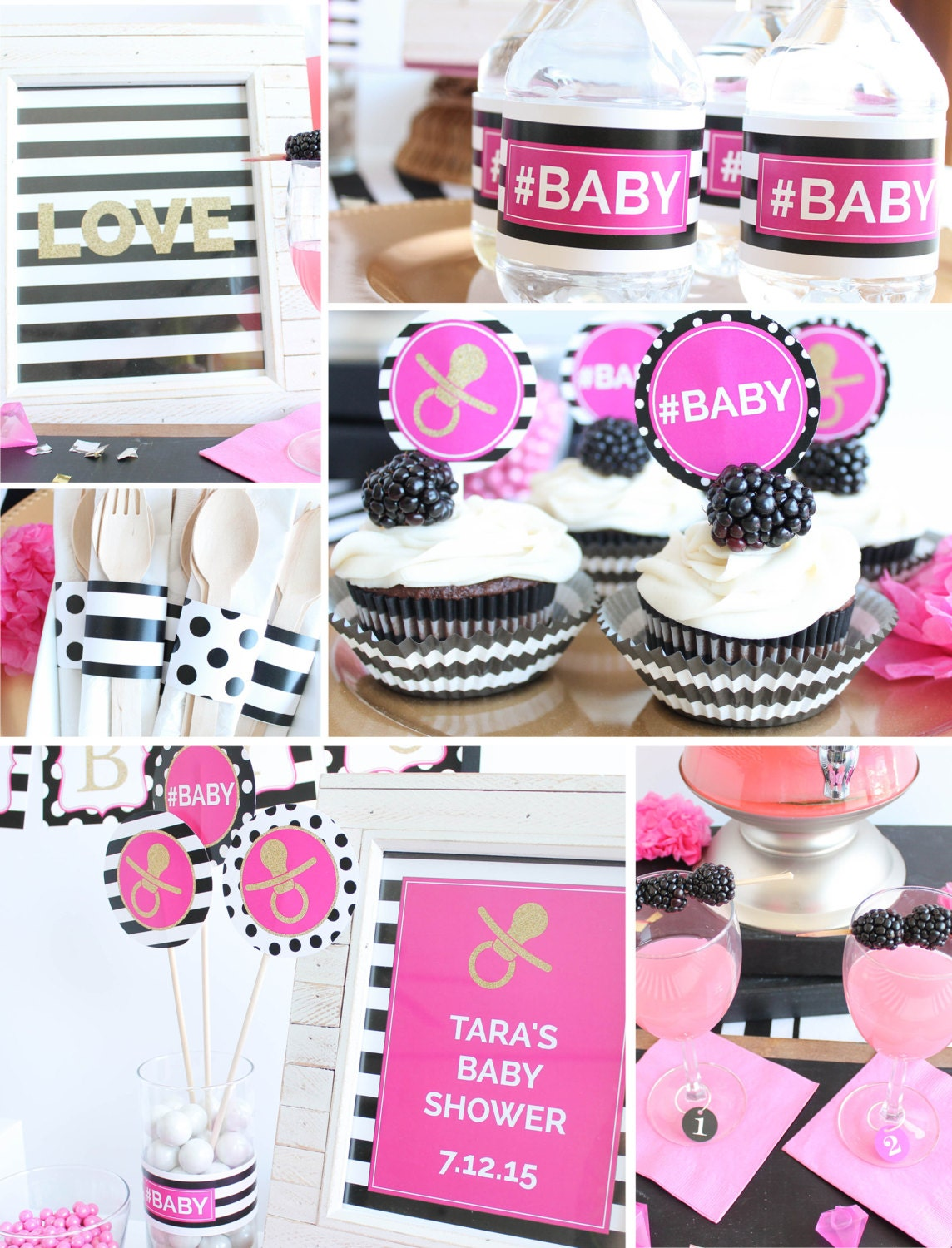 black white pink baby shower decorations gold by coralballoon