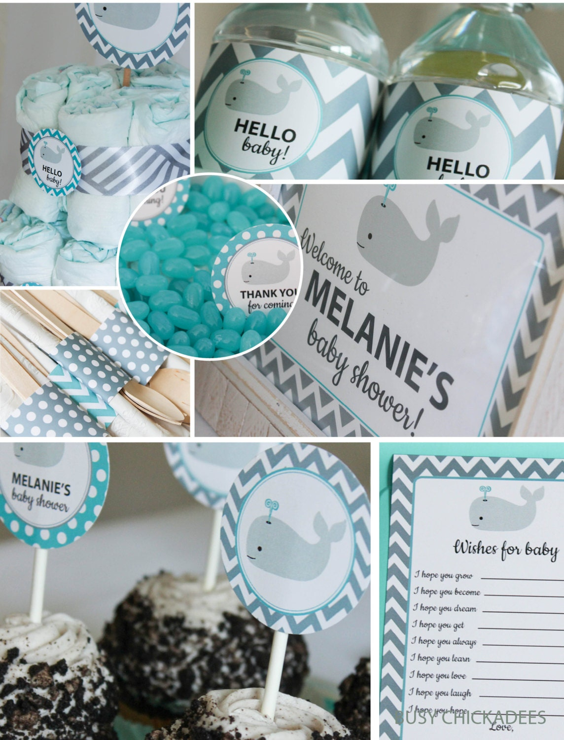 whale baby shower decorations teal gray chevron by busychickadees