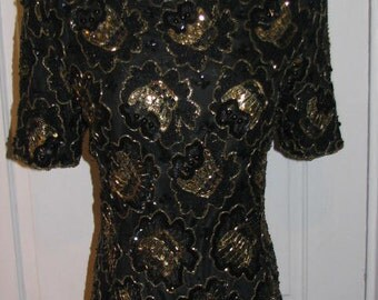 STENAY BEADED COCKTAIL Dress // 80's Black Gold Evening Lace Overlay Size 8 Wedding India Mother of the Bride Formal