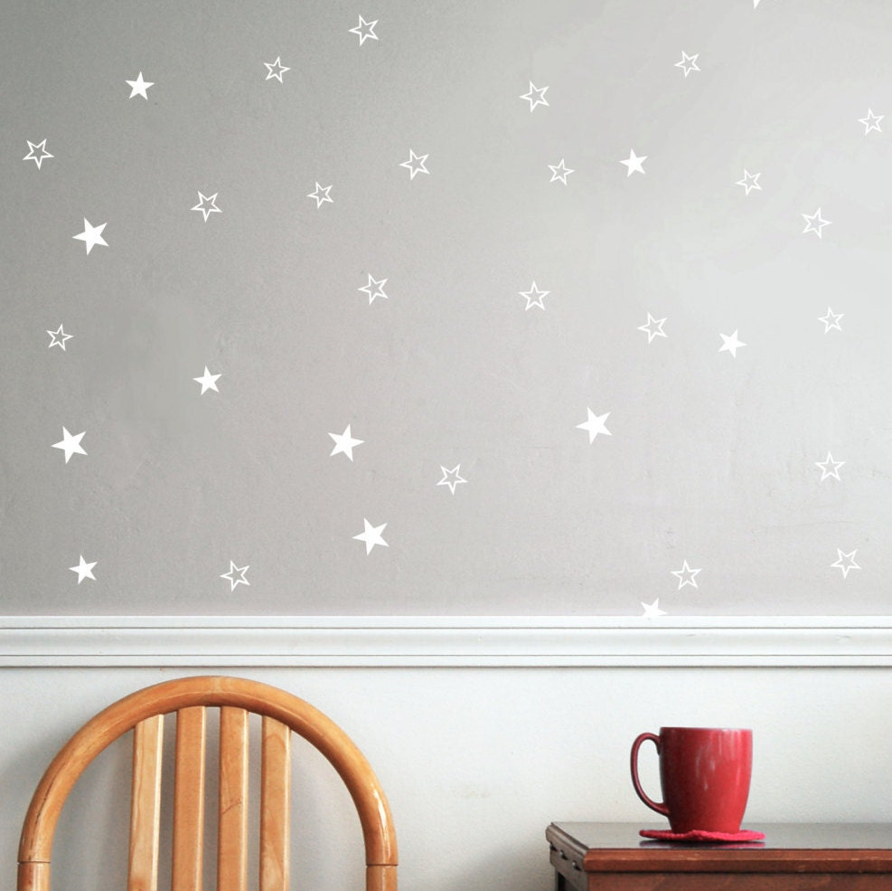 star vinyl wall decal white cut out stars star wall decal
