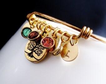 Personalized Initial Bangle Charm Bracelet, Family Tree Birthstone Grandma Keepsake Cuff, Gold Disc Crystal Cuff, Family Tree Jewelry
