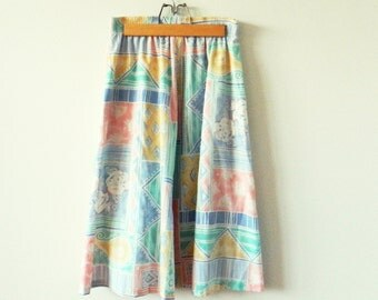 Vintage Pastel Abstract Tribal Midi Skirt / High Waisted Pastel Skirt / Delicious Pastel Skirt