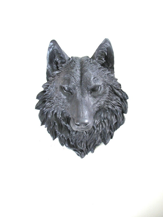 CHARCOAL GREY Faux Taxidermy Large Wolf Head Wall Mount wall hanging: Willem the Wolf in charcoal gray / faux wolf / fake / woodland