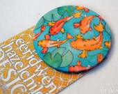 Koi Carp Fabric Badge, Large Badge, Pin Badge, Fabric Covered Button