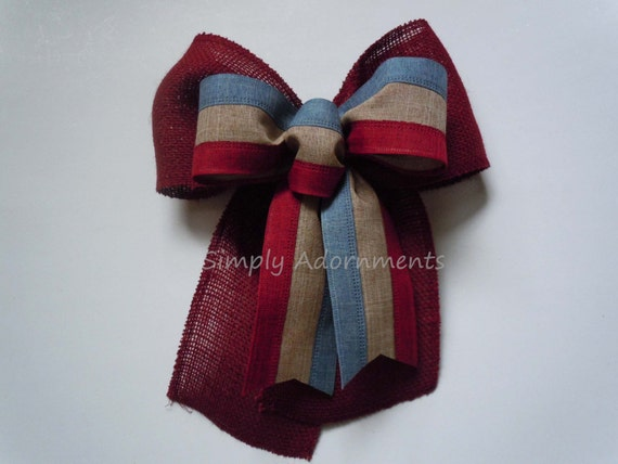 Rustic Burlap July 4th Bow Burgundy Burlap Fourth 4th of July Bow July 4th Door Wreath Bow Patriotic Home Decoration