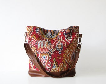 Tribal print Hobo Bag Crossbody Bag, Aztec, Navajo Print, Large Bag, Casual