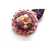 Felt Flower Pin Brooch for Women Jewelry Re-purposed Ballet Pink Mauve Grey