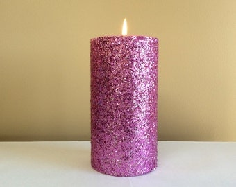 Pink Glitter Pillar Candle - Wedding Decor Candle - 4, 6, 9 inch