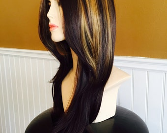 Freya // Brunette Full Synthetic Wig with Blonde Highlights