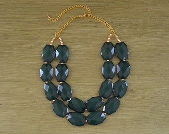 Double Strand Emerald Green Layered Statement Necklace - Chunky Green Bead Necklace - Double Layer Bib - Dark Green Necklace Michigan State