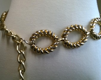 OPEN SCALLOP Gold-Silver Heavy Metal Chain Belt-Vintage 1990s-Adjustable-M/L