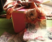 """Shabby Floral Tea Stained and Stamped Ribbon--Riotous Color--2"""" wide. 2 strands, 39 inches each"""
