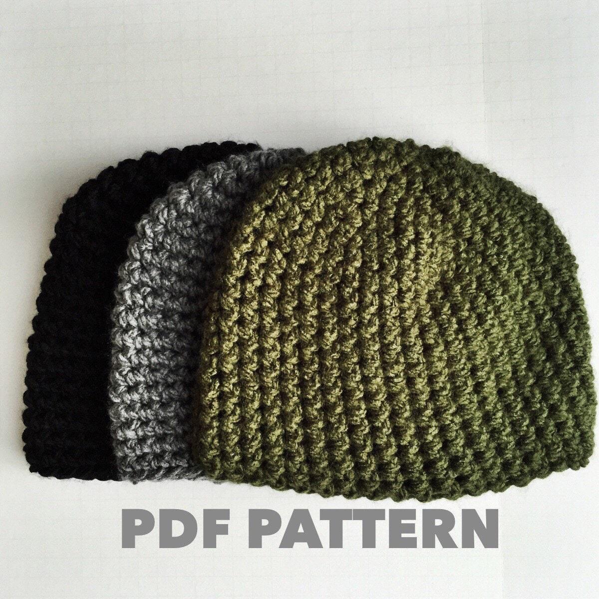 One Hour Mens Beanie Crochet Pattern Bulky Gray Mens Beanie