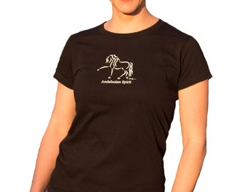 "Horse Tee Shirt, ""Andalusian Spirit"", Equine Design by Sandra Beaulieu, Andalusian Horse, Classical Dressage, Spanish Horse, SALE-Save 50%"
