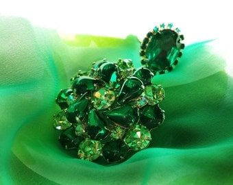 Vintage Weiss Brooch, Green Floral Brooch, Flowered Pin Emerald Ring and Brooch Set