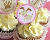 Pink Puppy Cupcake Toppers printable Stickers for Happy Birthday Party Paw pawty plaid woof instant download pdf digital