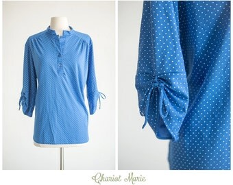 CLEARANCE SALE - Blue Vintage Blouse with White Polka Dots - Girly Vintage Top by Rhapsody - Size Large