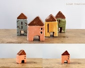 Miniature clay house, chalky peach, brown, fall winter home decor