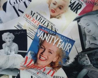 "Digital Print Pillow - Marilyn Monroe Pillow - Nostalgic Magazine Photos Pillow Cover - 18x18"" - Ready to Ship - Home Decor"