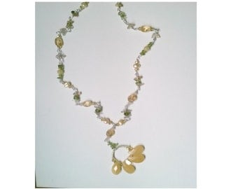 Daisy Necklace, with Calcite, Pearl, Citrine, Peridot and Rutilated Quartz Beads