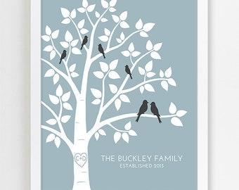 Housewarming Gift, Gift for Home, New Home, Personalized Bridal Shower Gift for Wedding Gift, Wedding Art Print Custom Family Tree Art