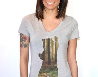 Bear T-Shirt | Women's T Shirts | Bear in the Forest | Women's Top | Gifts for her | mama bear shirt | Bear shirt | Graphic Tshirts |