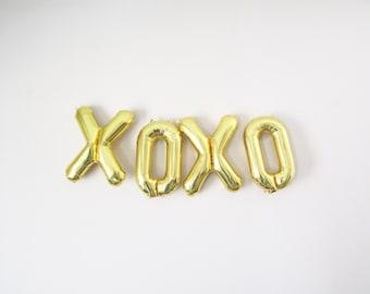 "16"" Gold XOXO Balloon Banner, Mylar Balloon Banner, XO Balloons, Bridal Shower, Baby Shower, Anniversary, Wedding, Reception"