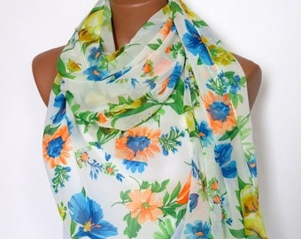 flowers - floral scarf scarf womens scarves striped scarves oversized  scarf  scarves gifts - for her - for him