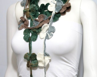 Hand made crochet green and Cream Flower Lariat Scarf. Fashion Flower Scarves, Necklace, Crochet Scarf, Winter Scarf, Fall Gifts.