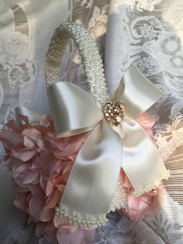 Flower Girl Basket Blush : Custom blush flower girl basket wedding baskets girls
