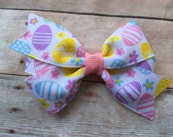 3 inch Easter hair bow - Easter egg bow, Easter bow