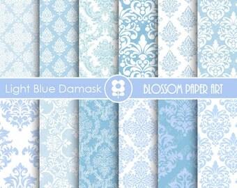 Light Blue Damask Digital Paper Light Blue Digital Paper Pack, Scrapbooking, Damask Papers - INSTANT DOWNLOAD  - 1906