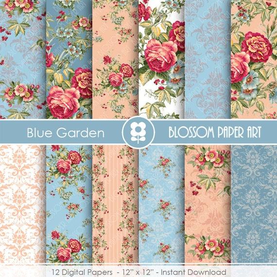 Papeles decorativos rosas vintage en azul papeles decorativos - Papeles decorativos pared ...