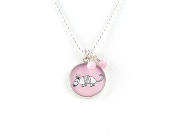 Armadillo Necklace   Pink Armadillo Pendant   Sterling Silver Aardvark Necklace   Nature Inspired Jewelry