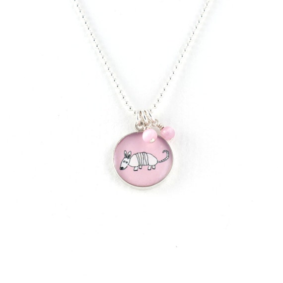 Armadillo Necklace | Pink Armadillo Pendant | Sterling Silver Aardvark Necklace | Nature Inspired Jewelry