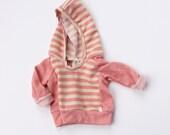 petal pink colorblock BEACH hoodie  // handmade baby/toddler