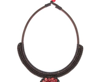 Necklace Sphere Red Stones Handmade in Thailand FAIR Trade Wax Cotton String (N001-R)