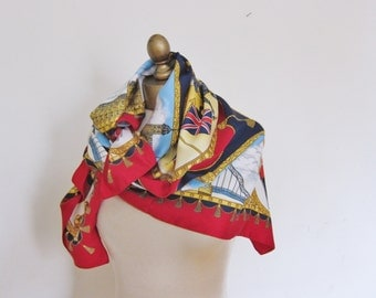 LONDON scarf,  TIE RACK,  art of the scarf,  Bright and lively, souvenir scarf, squares scarf, travel scarf, English