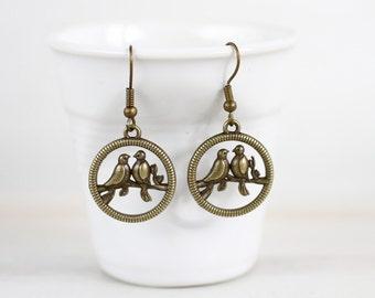 Bird Earrings,  Birds  jewelry, Antique Brass Earrings, Gift for her,  Birds earring gift ,  Bird lover gift