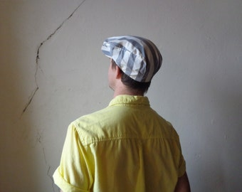 grey white stripes flat cap// large