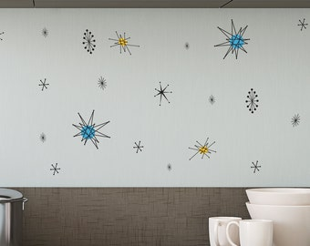 Retro Atomic Shapes - Vintage Decor - Wall Decal Custom Vinyl Art Stickers for Interior Designers, Homes, Schools