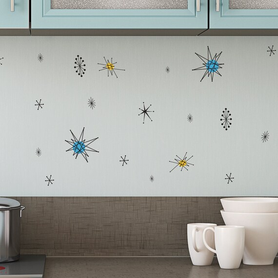 Mobile Home Decorating: Retro Atomic Shapes Vintage Decor Wall Decal Custom Vinyl