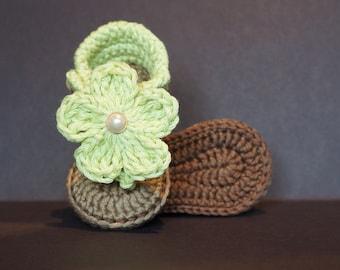 Crochet Baby Shoe,Crochet Baby Sandal,Crochet Baby Flip Flop,Baby Girl Sandal,Baby Girl Sandal, Baby Girl Shoe, Green / Tan, 0-3 months