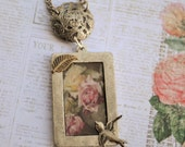 Vintage Assemblage Charm Necklace, Cottage Rose Pendant with Soaring Bird, Custom Order with Antique Button Connector, Upcycled Jewelry