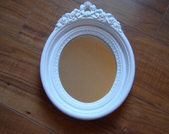 White oval wall mirror rosebud small mirror wall hanging ornate wall mirror nursery mirror 7x9 inch home decor wedding table setting
