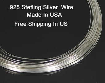 20 Ga Sterling Silver Round Wire (Half Hard)  .925 Sterling Silver Made In USA