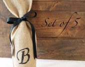 Set of 5 Custom Monogram Burlap Gift Bag, Personalized Wine Gift Bag, Wine Bag, Housewarming Gift, Black monogram, Bachelorette Party Favor