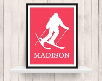 Skier   Sports Silhouette- Girl Skiing   - Custom Print -  Personalized