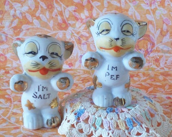 Whimsical I'm Salt and I'm Pep Cat Salt and Pepper Shakers Made in Japan
